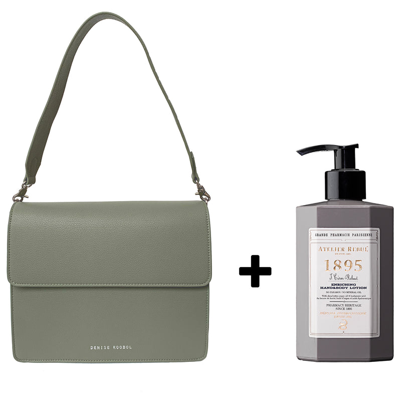 Nikki Bag Green Mud + Atelier Rebul Body Lotion