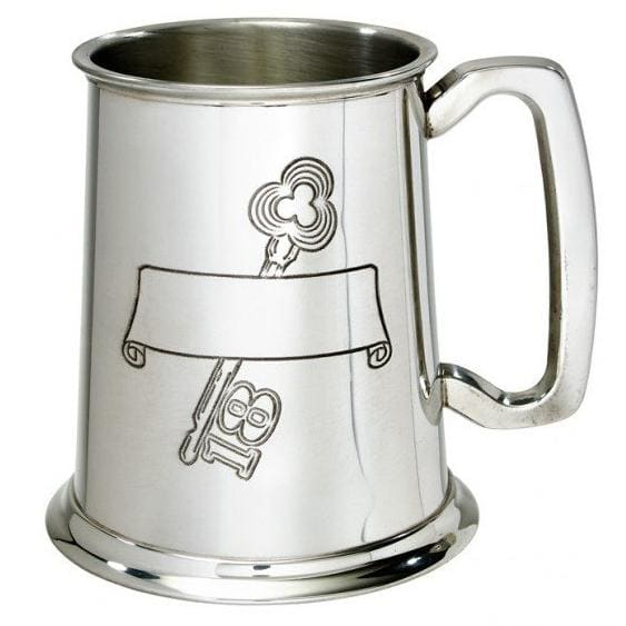 1 Pint 18th Birthday Key Scroll Pewter Tankard
