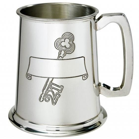 1 Pint 21st Birthday Key Scroll Pewter Tankard