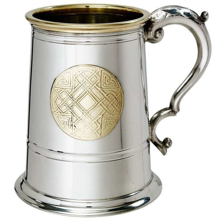 1 Pint Celtic Gold Pewter Tankard