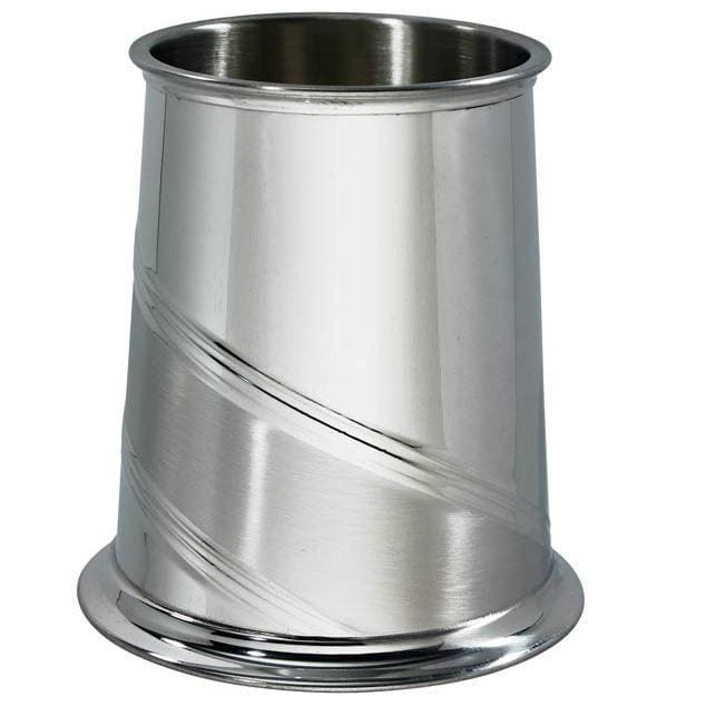 1 Pint Diagonal Stripe Pewter Tankard