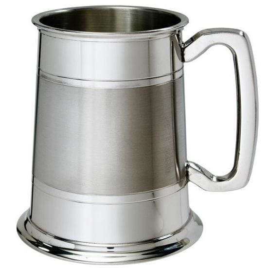 1 Pint Double Band Part Satin Pewter Tankard