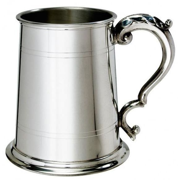 1 Pint Double Lines Fancy Handle Pewter Tankard