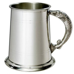 1 Pint Double Lines Fish Handle Pewter Tankard