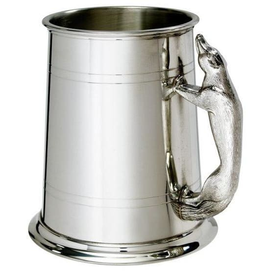 1 Pint Double Lines Fox Handle Pewter Tankard