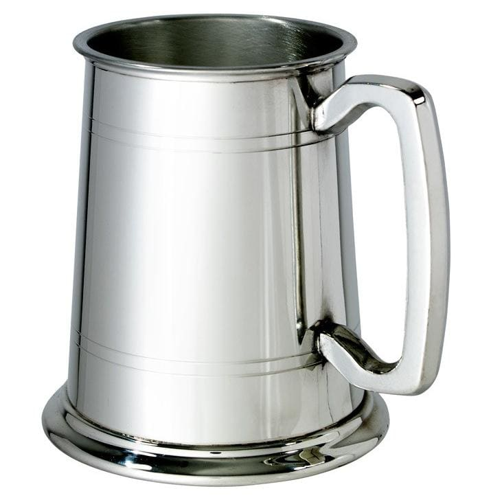 1 Pint Double Lines Glass Bottom Pewter Tankard
