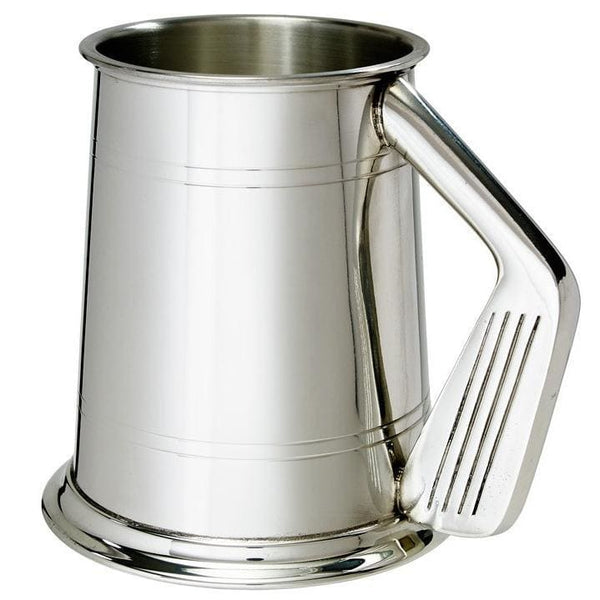 1 Pint Double Lines Golf Handle Pewter Tankard