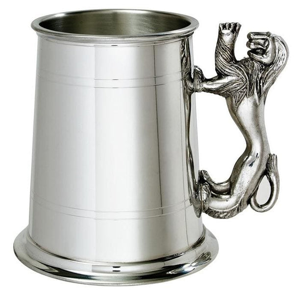 1 Pint Double Lines Lion Handle Pewter Tankard