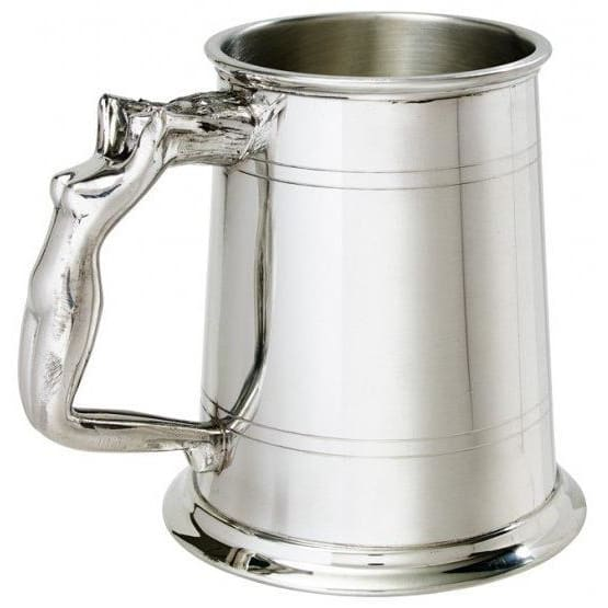 1 Pint Double Lines Nymph Handle Pewter Tankard