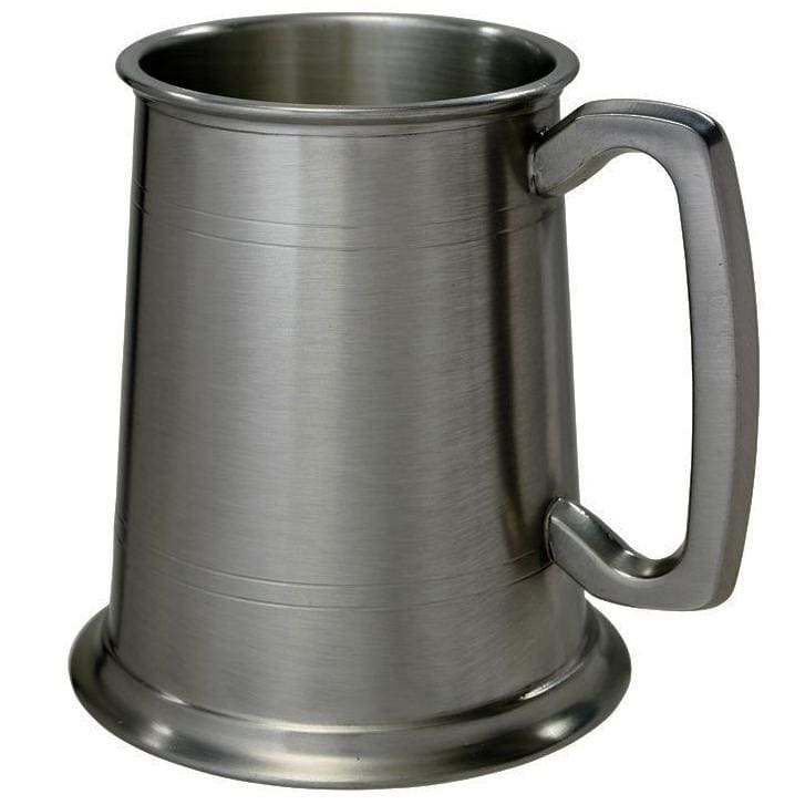 1 Pint Double Lines Pewter Tankard - Antique