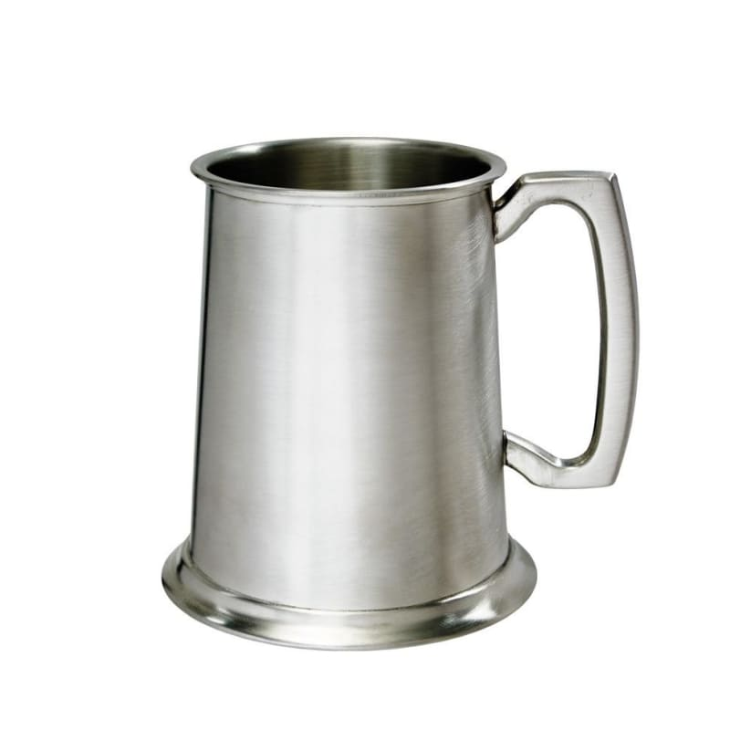 1 Pint Double Lines Pewter Tankard - Satin Finish