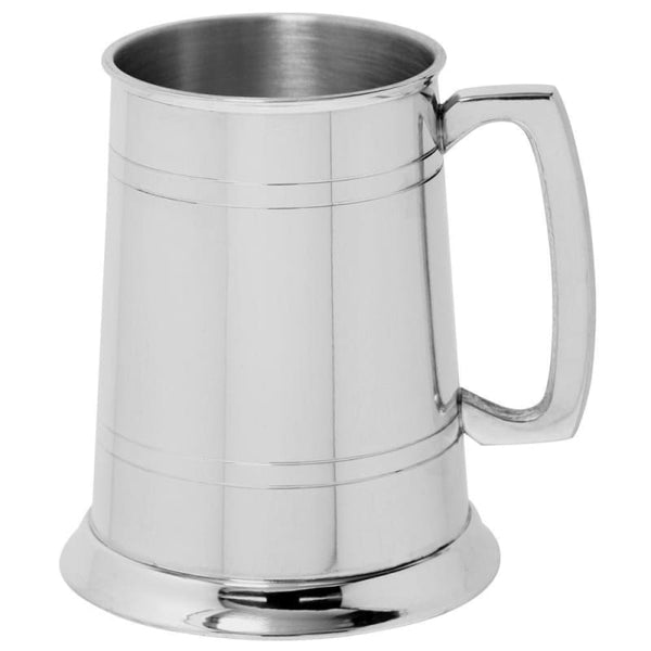 1 Pint Double Lines Pewter Tankard - Standard (Polished)