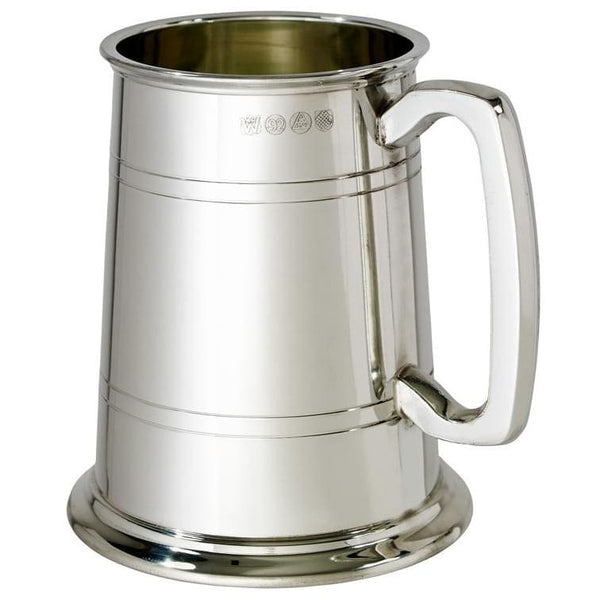 1 Pint Double Lines Pewter Tankard With Glass Bottom