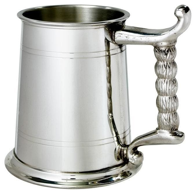 1 Pint Double Lines Rope Handle Pewter Tankard