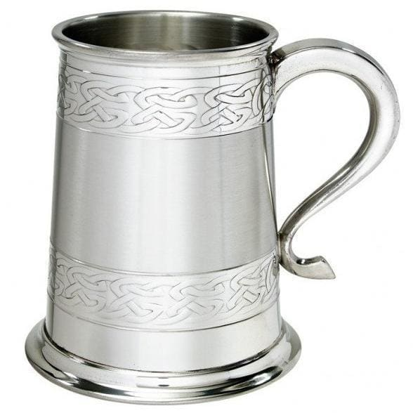 1 Pint Embossed Celtic Bands Pewter Tankard