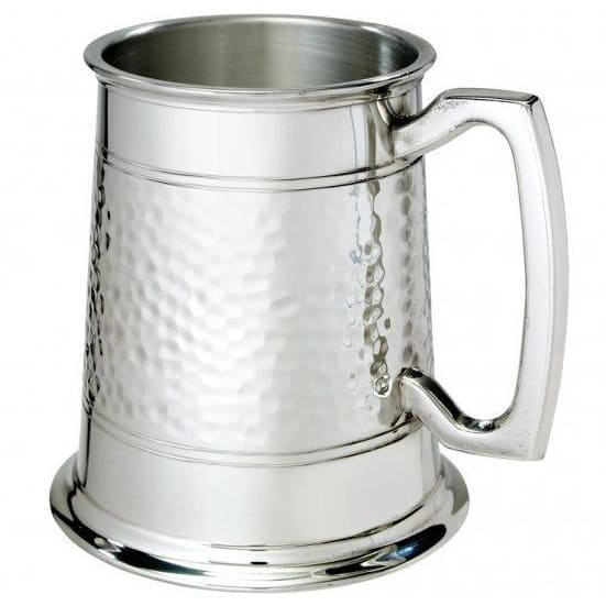1 Pint Half Hammered Pewter Tankard