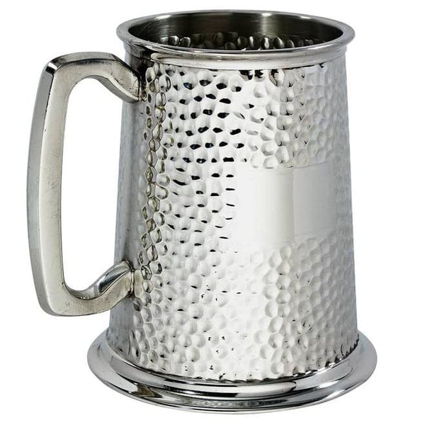 1 Pint Hammered Pewter Tankard
