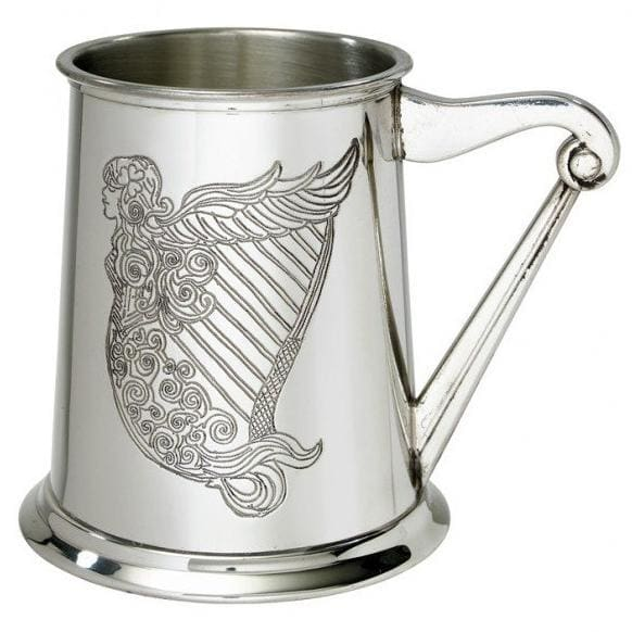 1 Pint Irish Harp Pewter Tankard
