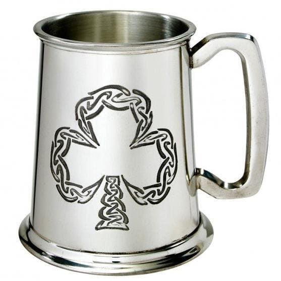 1 Pint Irish Shamrock Pewter Tankard