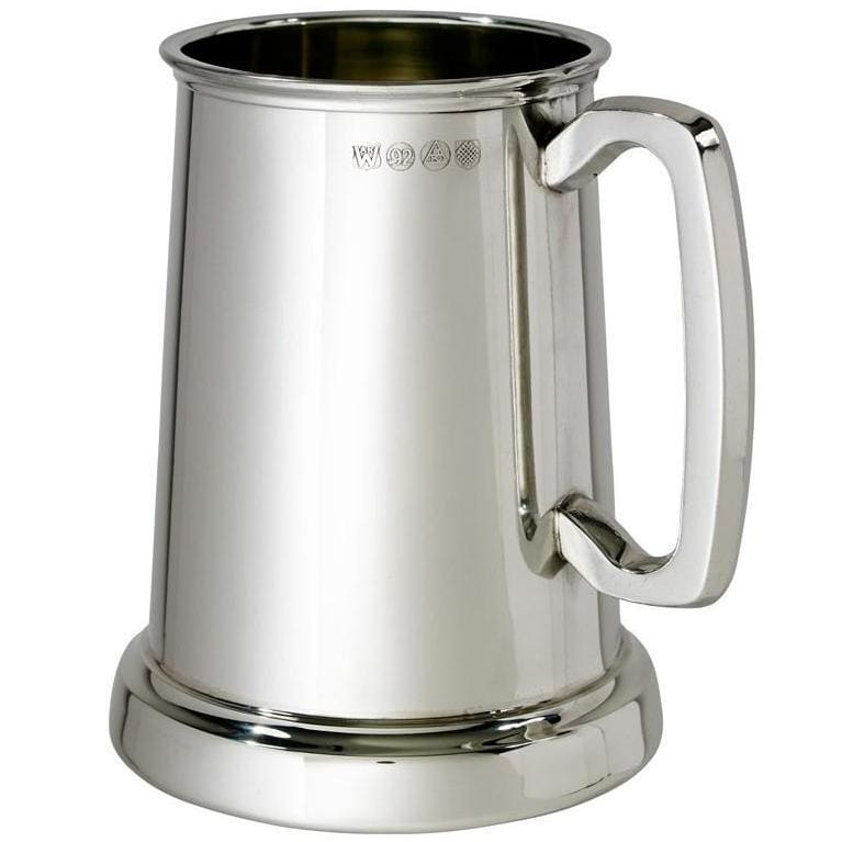 1 Pint King's Shilling Pewter Tankard With Glass Bottom