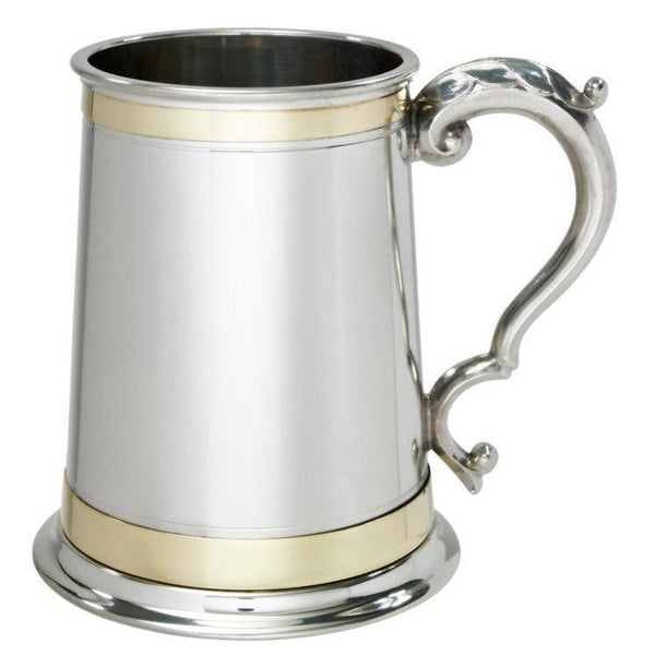 1 Pint Monarch Double Brass Band Tankard