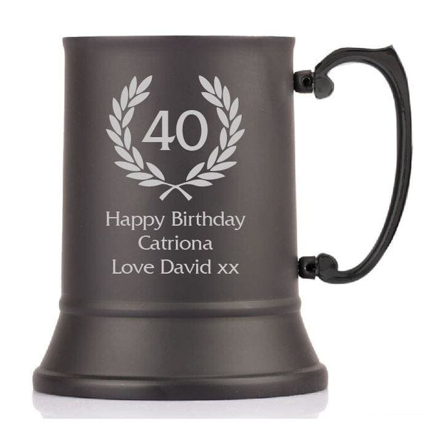 1 Pint Personalised Birthday Thistle Steel Tankard with