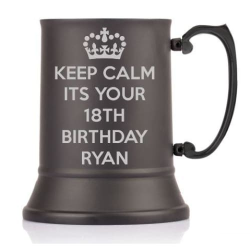 1 Pint Personalised Keep Calm Steel Tankard with Presenation