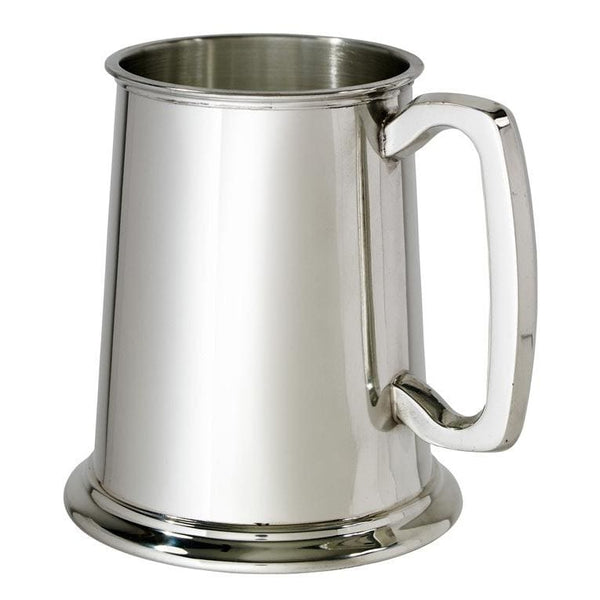 1 Pint Plain Pewter Tankard With Glass Bottom
