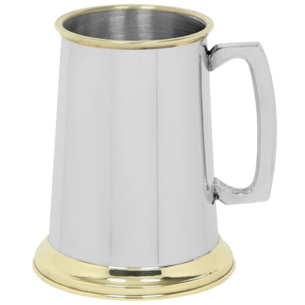 1 Pint Plain Straight Brass Trimmed Tankard