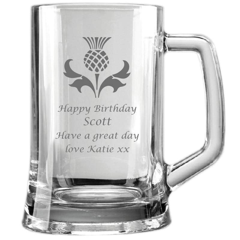 1 Pint Thistle Birthday Personalsied Glass Tankard
