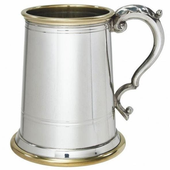 1 Pint Wortley Brass Rim and Glass Bottom Tankard