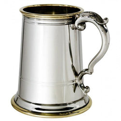 1 Pint Wortley With Brass Rim Pewter Tankard