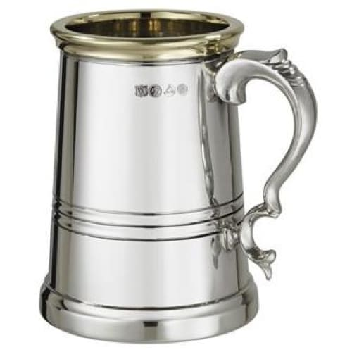 1 Pint X-Range Worcester Brass Trim Pewter Tankard