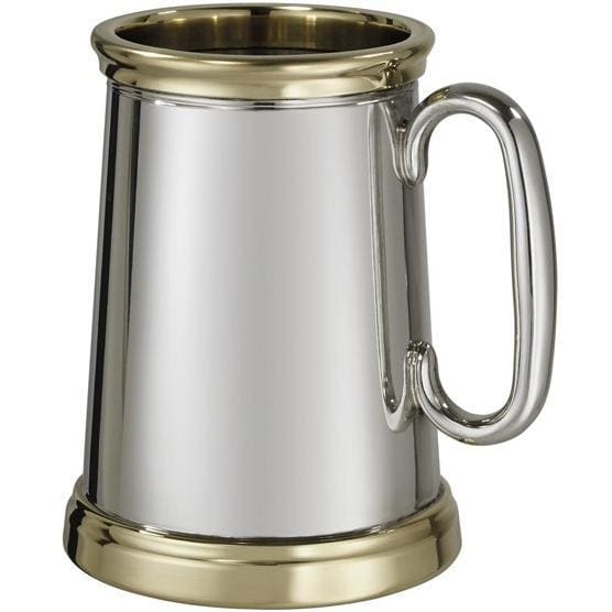1 Pint X-Range Wortley Brass Trim Pewter Tankard
