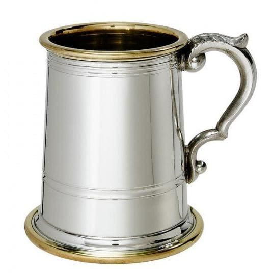 1/2 Pint Wortley Brass Rimmed Pewter Tankard