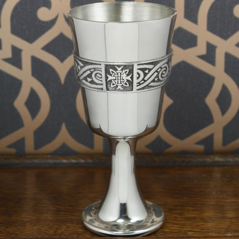 6 1/4 Pewter Goblet With Celtic Band