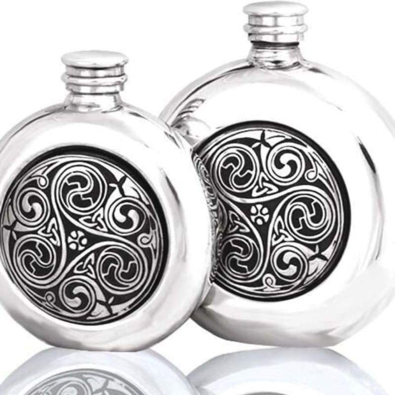 6oz Classic Round Pewter Flask With Kells Design - 6oz