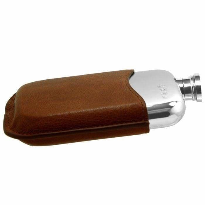 6oz Pewter Flask With Tan Leather Pouch