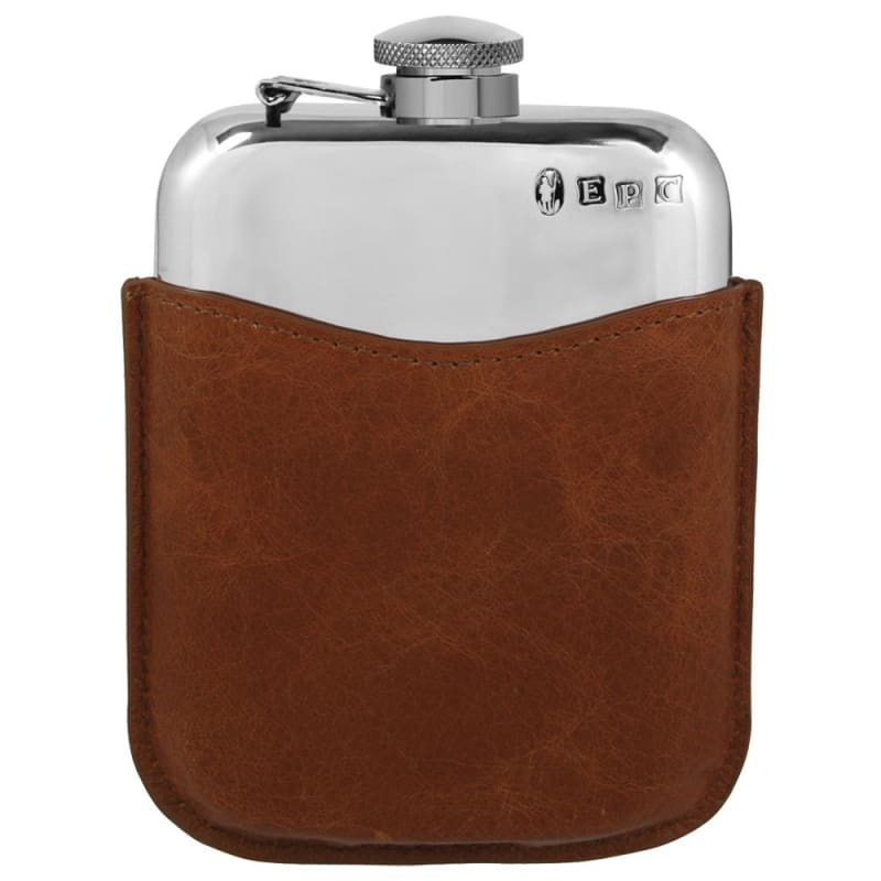 6oz Pewter Flask With Tan Leather Pouch - with captive top