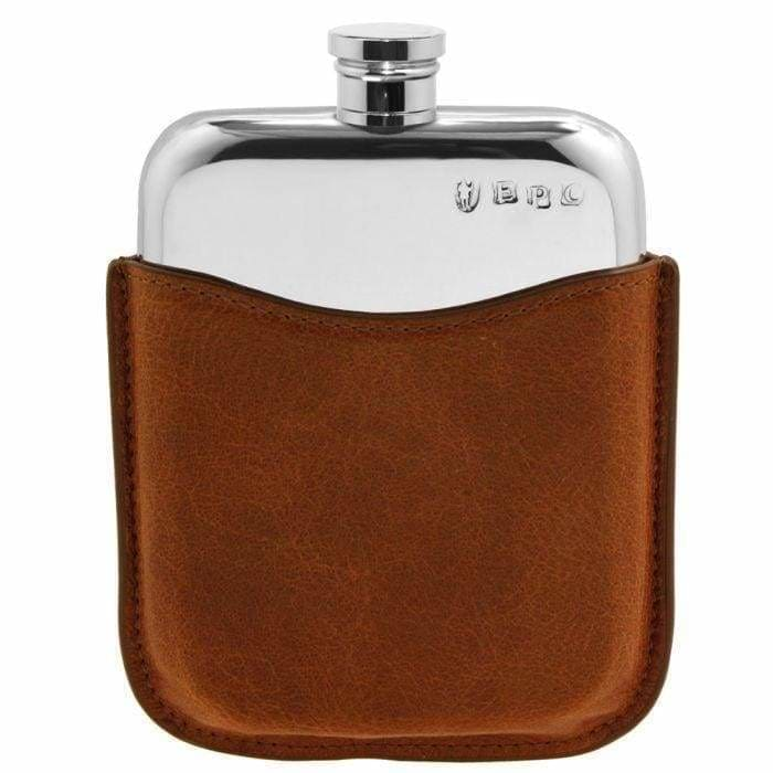 6oz Pewter Flask With Tan Leather Pouch - without captive