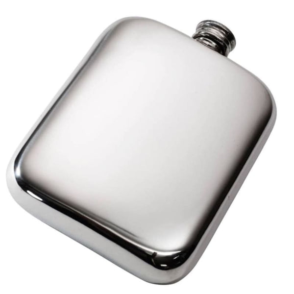 Plain Pewter Pocket Flask - 6oz without captive top