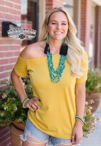 Mustard Tilt Top - Sister Tribe Boutique