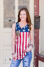 Load image into Gallery viewer, Flag Tank w/ Leopard Pocket - Sister Tribe Boutique