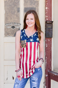 Flag Tank w/ Leopard Pocket - Sister Tribe Boutique