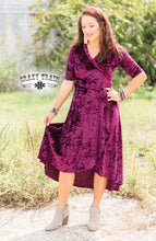 Load image into Gallery viewer, A&M Maroon Velvet Dress - Sister Tribe Boutique