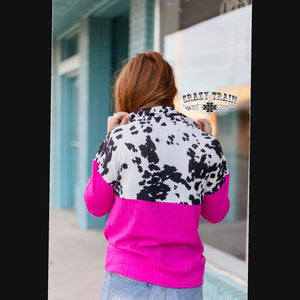 Pink Cow Pullover - Sister Tribe Boutique