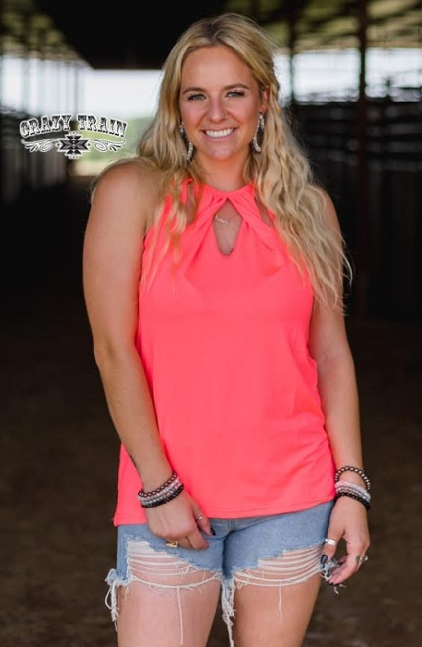 Neon Coral Twist - Sister Tribe Boutique