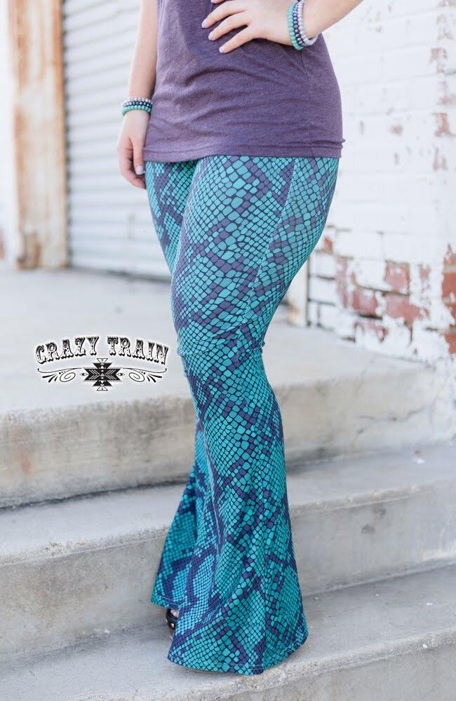 Snake Print Bell Pants - Sister Tribe Boutique