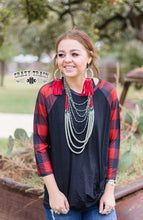 Load image into Gallery viewer, Rag Top Plaid Raglan - Sister Tribe Boutique