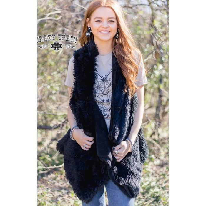 Black Bear Fur Vest - Sister Tribe Boutique
